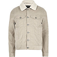 Stone fleece lined corduroy jacket