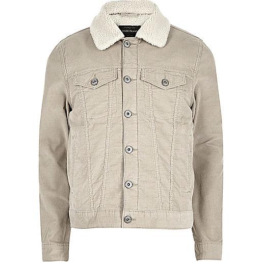 Stone fleece lined corduroy jacket