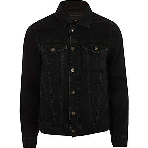 Black back print denim jacket