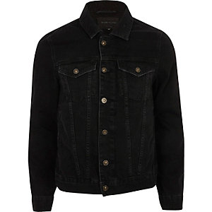 Black back print denim jacket