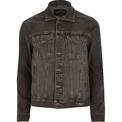 Grey acid wash denim jacket