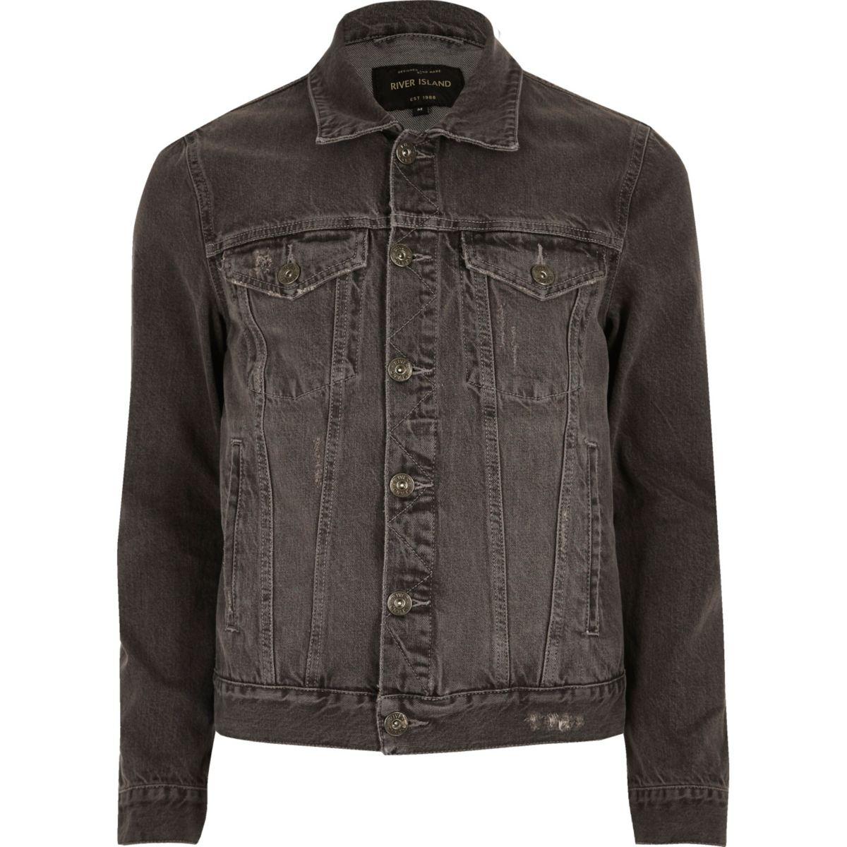 Grey acid wash denim jacket