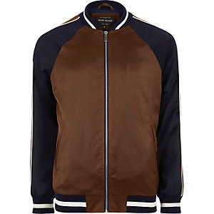 Brown two tone light bomber jacket
