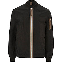 Black contrast zip bomber jacket