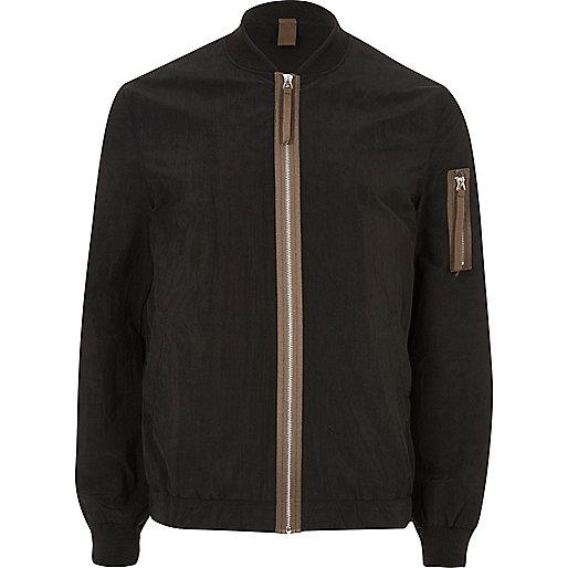 Black contrast zip bomber jacket