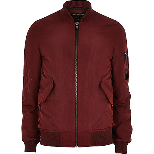 Burgundy MA1 bomber jacket