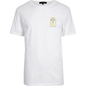 White 'Brooklyn' print T-shirt