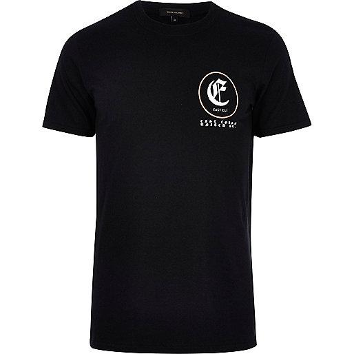 Black short sleeve 'east coast' print T-shirt