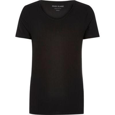 Zwart aansluitend T-shirt met ronde V-hals