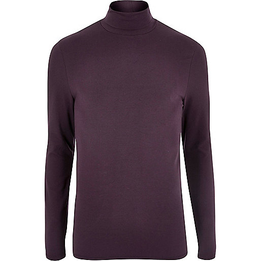 Purple muscle fit roll neck T-shirt