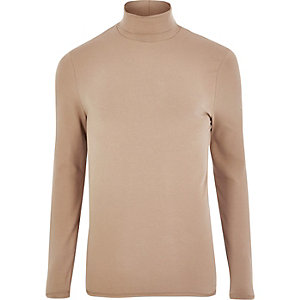 Blush pink muscle fit roll neck T-shirt