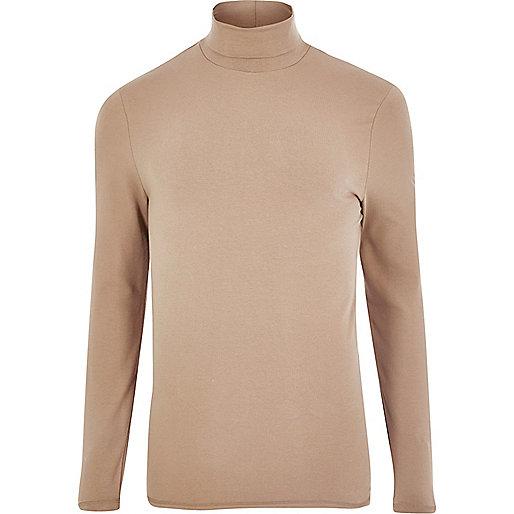 T-shirt rose poudre ajusté à col montant