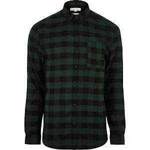 Chemise casual verte à carreaux coupe près du corps