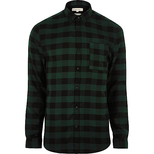 Green casual check muscle fit shirt long sleeve shirts for Wiz khalifa button down shirt