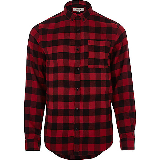 Red Casual Buffalo Check Flannel Shirt Long Sleeve