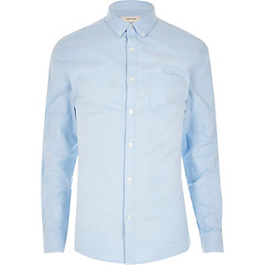 Blue casual Oxford muscle fit shirt