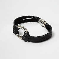 Black faux suede loop bracelet