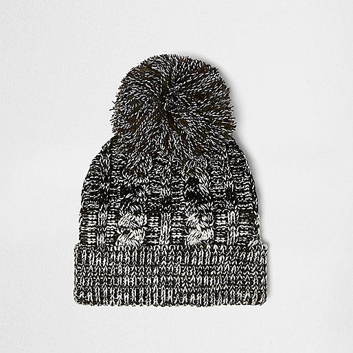Khaki twist knit bobble hat