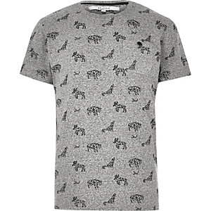 Grey Bellfield animal print T-shirt