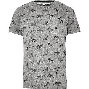 Bellfield grijs T-shirt met dierenprint