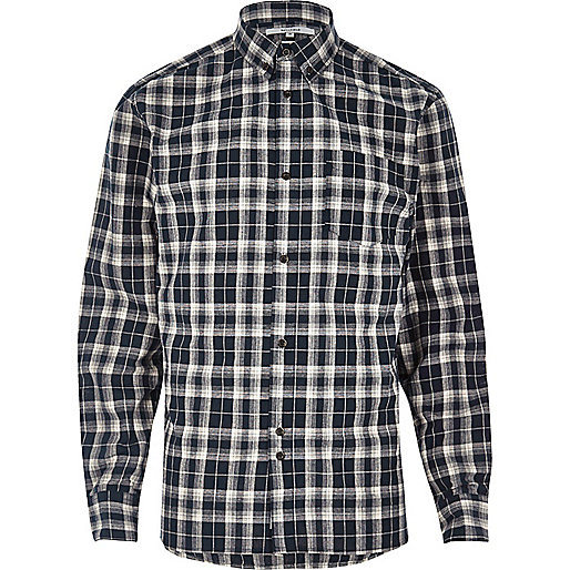 Blue Bellfield casual check flannel shirt