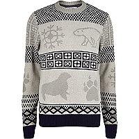Bellfield grey arctic Christmas jumper
