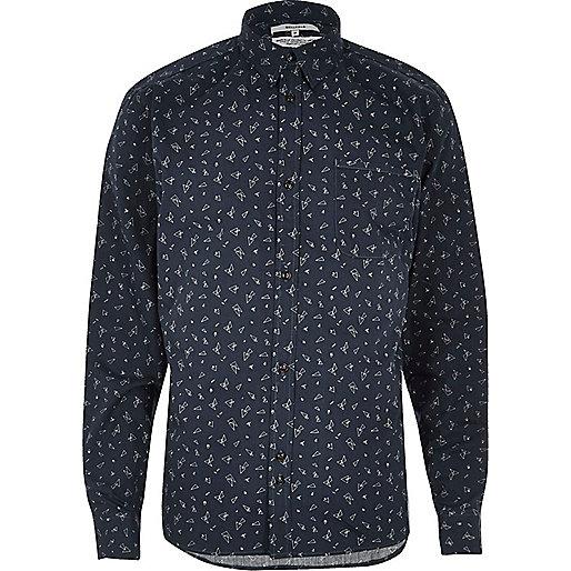 Navy Bellfield shard print casual shirt