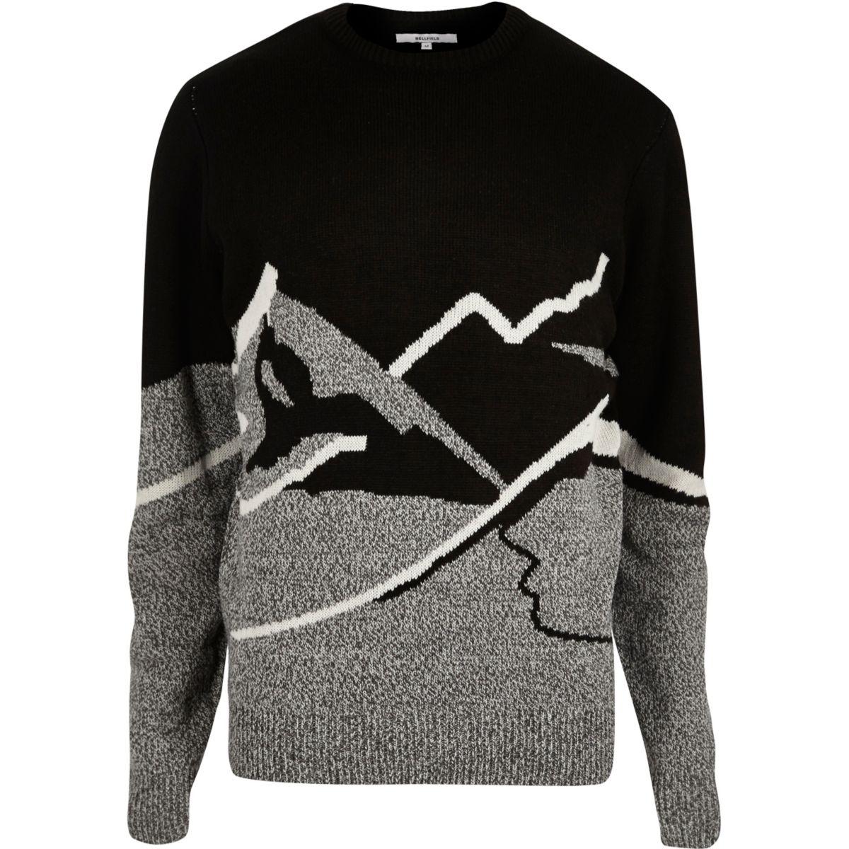 Bellfield black mountain Christmas sweater