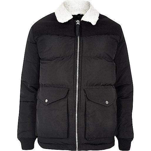 Black Bellfield borg collar puffer jacket