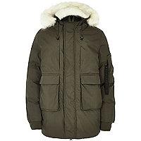 Khaki Bellfield faux fur trim hooded parka