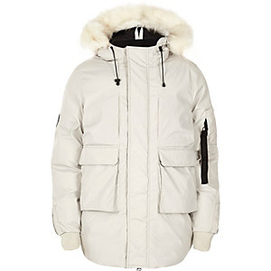 White Bellfield faux fur trim hooded parka