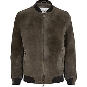 Grey Bellfield suede bomber jacket