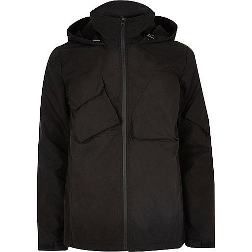 Bellfield – Schwarze Tech-Jacke mit Kapuze
