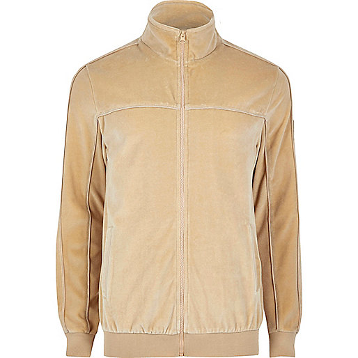 Camel velour track jacket