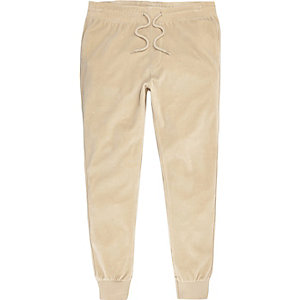 Camel velour joggers