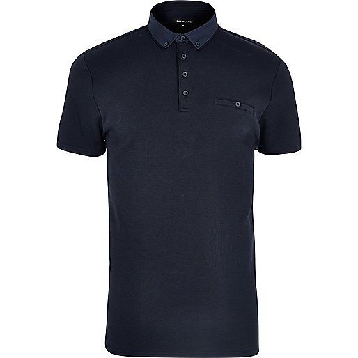 Navy button polo shirt