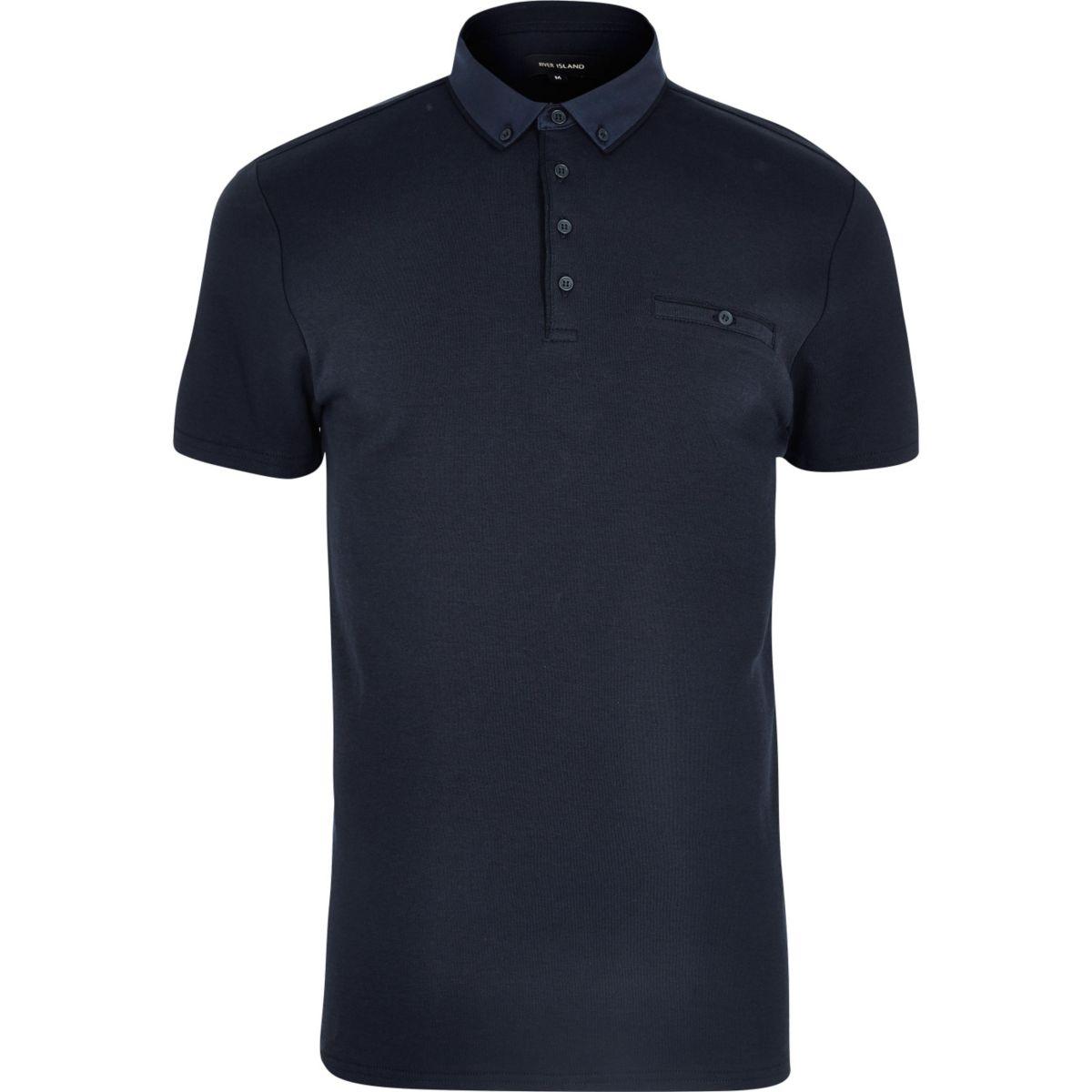 Navy button polo shirt