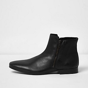 Black leather zip Chelsea boots