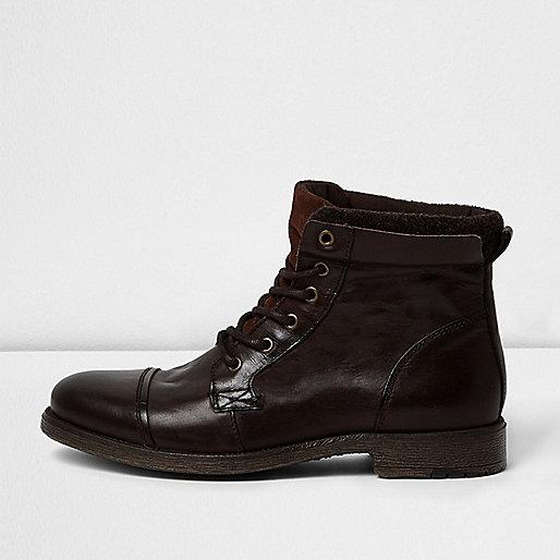 Dark brown leather work boots