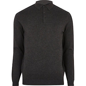 Dark grey long sleeve polo shirt