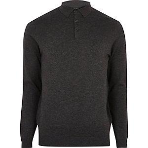 Donkergrijze slim-fit pullover met polokraag