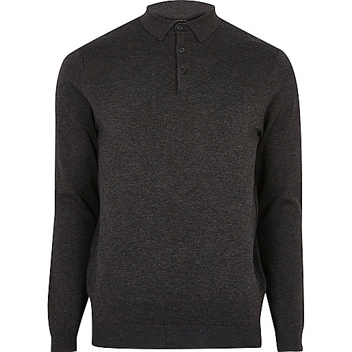 Dark grey long sleeve polo shirt