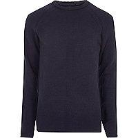 Navy blue textured crew neck sweater