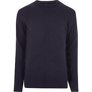 Navy blue textured crew neck sweater