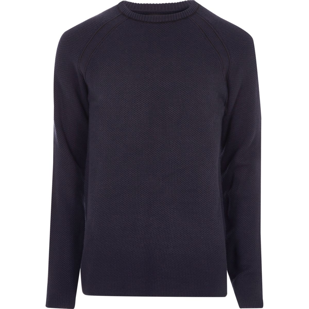 Navy blue textured crew neck jumper