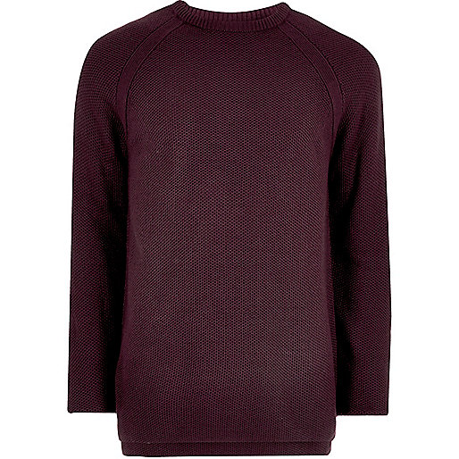 Purple textured crew neck jumper