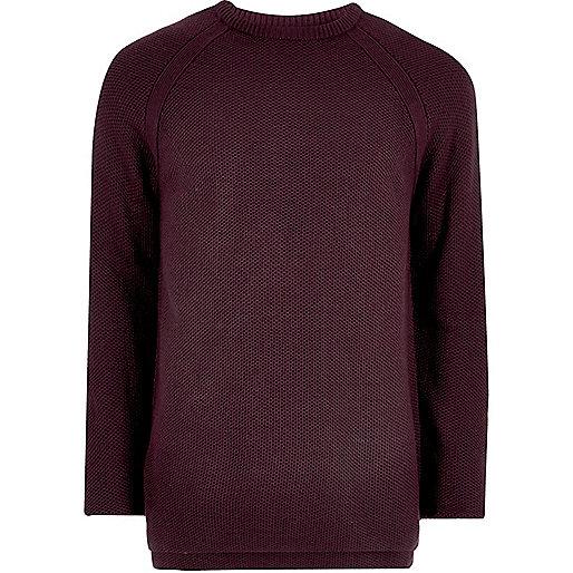 Purple textured crew neck sweater