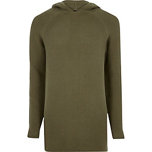 Green perforated longline hoodie