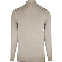 Light grey slim fit roll neck jumper