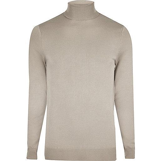 Light grey slim fit roll neck sweater
